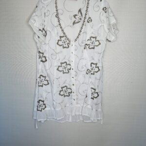 Wit, broderie blouse